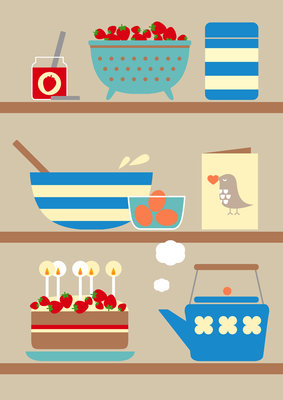 Kitchen Shelves by Dicky Bird - print