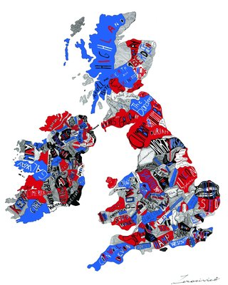 Fine Art Print of British Map (Red, White and Blue) by Ruggero Tommasini