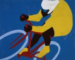 Yellow Cyclist by Andy Bridge - print