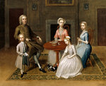 Group portrait, possibly of the Brewster family, in a domestic interior Poster Art Print by Alexander Chisholm