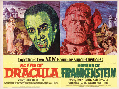 SCARS OF DRACULA/HORROR OF FRANKENSTEIN (aged) by Mike Vaughan - print