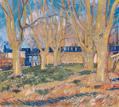 The viaduct in Arles. The blue train Poster Art Print by Vincent Van Gogh