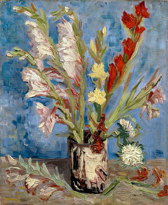 Vase with gladioli and China asters Poster Art Print by Vincent Van Gogh