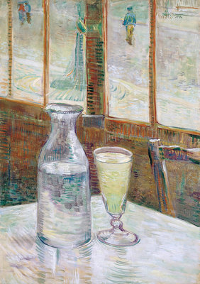 Café table with absinth Poster Art Print by Vincent Van Gogh