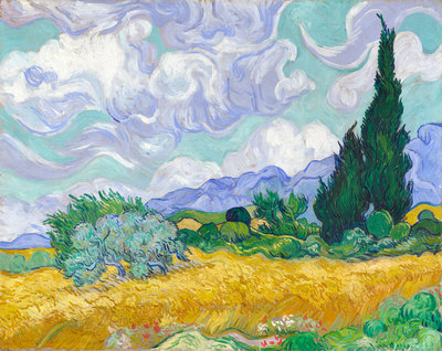 A Wheatfield, with Cypresses Poster Art Print by Vincent Van Gogh