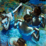 Dancers in Blue Poster Art Print by Hilary Dunne