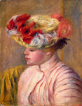 Young Woman in a Flowered Hat Poster Art Print by Berthe Morisot
