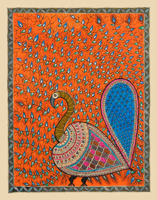 Peacock in Orange background Poster Art Print by Maneesh