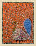 Peacock in Orange background