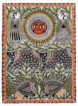 Sun, Elephants and Peacocks Poster Art Print by Maneesh