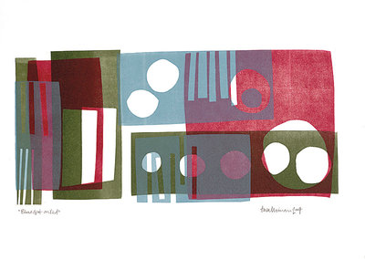 Blue Spot on Red by Tessa Walliman - print