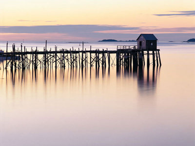 Old Wharf at Dawn Poster Art Print by Paul Rezendes