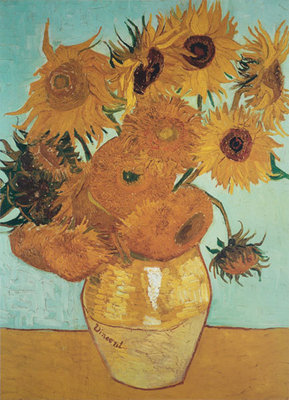 Sunflowers on Blue, 1888 Poster Art Print by Vincent Van Gogh