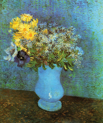 Vase with Lilacs, Daisies and Anemone Poster Art Print by Vincent Van Gogh