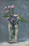 Carnations and Clematis in a Crystal Vase Poster Art Print by Claude Monet