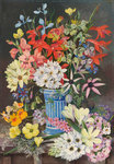 409. Old Dutch Vase and South African Flowers. Poster Art Print by Marianne North