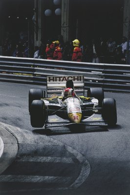 Fine Art Print of 1994 Monaco Grand Prix, Monte Carlo. Johnny Herbert (Lotus 107C-Mugen) lifts a wheel at Mirabeau by Anonymous