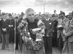 1952 British Grand Prix. Piero Taruffi says a few words after the race.