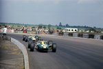 Fine Art Print of 1967 British GP, Silverstone, Graham Hill leads Jim Clark, both Lotus 49-Ford. Clark finished in 1st position by Anonymous