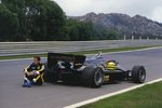Fine Art Print of 1985 Porugese GP, Estoril, Ayrton Senna, Lotus 97T-Renault, after warm-up by Anonymous
