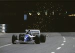 1994 Monaco Grand Prix. Monte Carlo, Monaco. 13-15 May 1994. The sparks fly as Damon Hill (Williams FW16 Renault) exits the tunnel. He exited the race after he hit Hakkinen on the first lap Poster Art Print by Anonymous