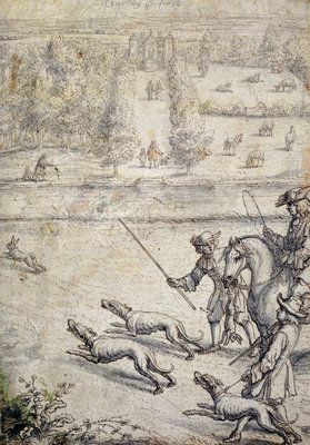 Coursing the Hare, illustration to Richard Blome's 'The Gentleman's Recreation' pub. 1686 by Francis Barlow - print