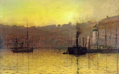 Nightfall in Scarborough Harbour, 1884 by John Atkinson Grimshaw - print