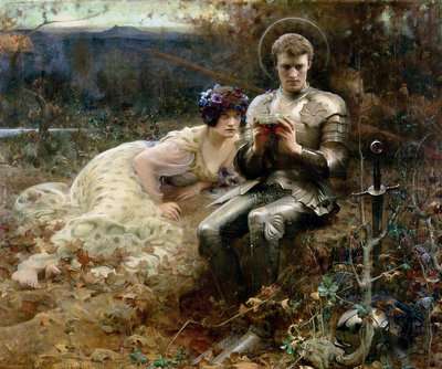 The Temptation of Sir Percival, 1894 by Arthur Hacker - print