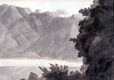 Head of Lake Geneva, pen &amp;amp; ink &amp;amp; wash on paper by Francis Towne - print