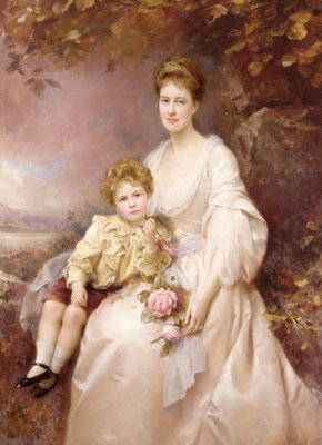 Portrait of Laura Gwendolen Gascoigne and her son Alvary, 1898 by Edward Hughes - print