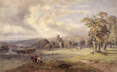 View of Kirkstall Abbey, Leeds, 1860 by George Arthur Fripp - print