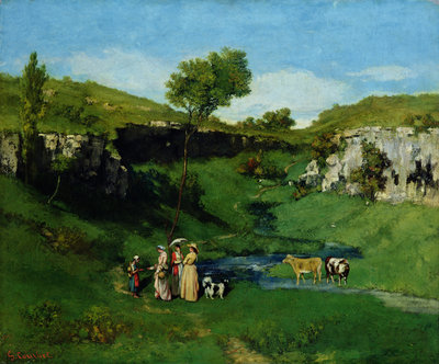 The Village Maidens, 1851 by Gustave Courbet - print