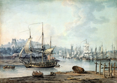 Towing a Warship out of Bristol Harbour, 1783 by Nicholas Pocock - print