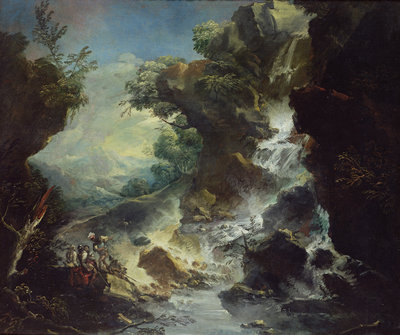 Landscape with Waterfall, c.1700-07 by Antonio Marini - print