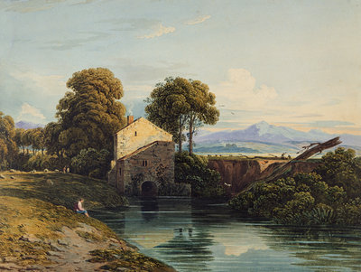Watermill with Distant Castle and Hills, 1822 by John Varley - print