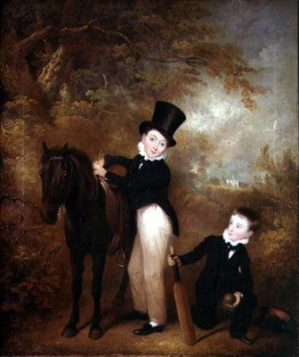 Portrait of William and Charles Chadwick at Burley Lodge, 1824 by Charles Henry Schwanfelder - print