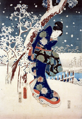 Snow Scene in the Garden of a Daimyo, part of Triptych by Ando or Utagawa Hiroshige - print