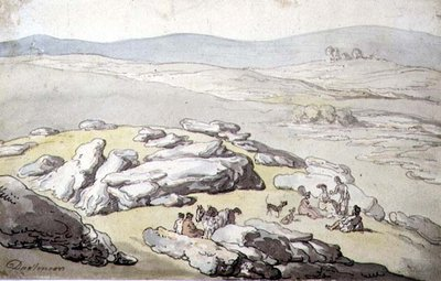 A Picnic on Dartmoor by Thomas Rowlandson - print
