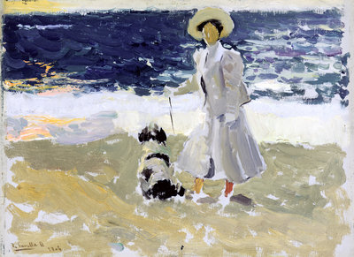 Lady and Dog on the Beach, 1906 by Joaquin Sorolla y Bastida - print