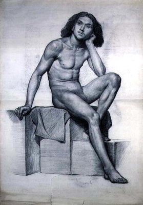 Study of a Nude Model Seated, 1873 by William Hamo Thornycroft - print