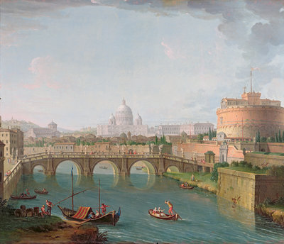 View of the Tiber, c.1700-77 by Antonio Joli - print
