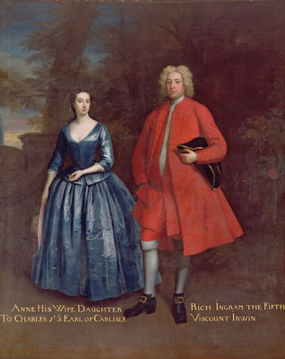 Portrait of Rich, 5th Viscount Irwin and his Wife Anne, c.1715-20 by Jonathan Richardson - print