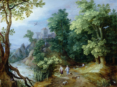 Landscape with Sportsmen and Dogs by Paul Brill or Bril - print