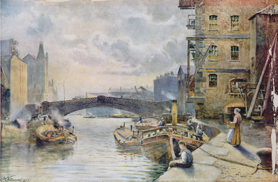 Leeds Bridge from Aire and Calder Navigation Wharf, 1911 by Arthur Netherwood - print
