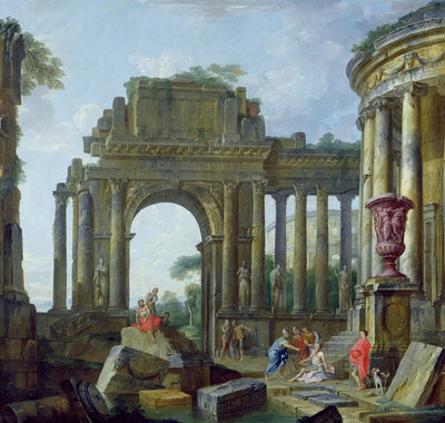 Roman Ruins with the Blind Belisarius by Giovanni Paolo Pannini or Panini - print