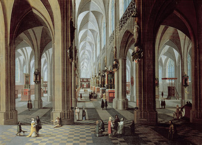 Interior of Antwerp Cathedral by Pieter the Younger Neeffs - print
