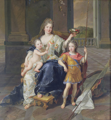 Duchess de la Ferte with the Duke of Brittany and the Duke of Anjou by Francois de Troy - print