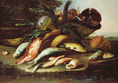 Still Life with Dead Fish and Game by Giuseppe Recco - print