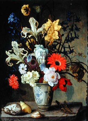 Floral Study with beaker, grasshopper and seashells by Balthasar van der Ast - print