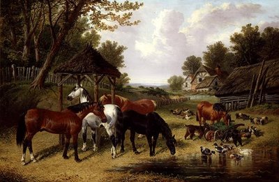 Horses by a Farmyard pond by John Frederick Herring Snr - print